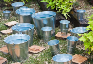 zinc bucket of water